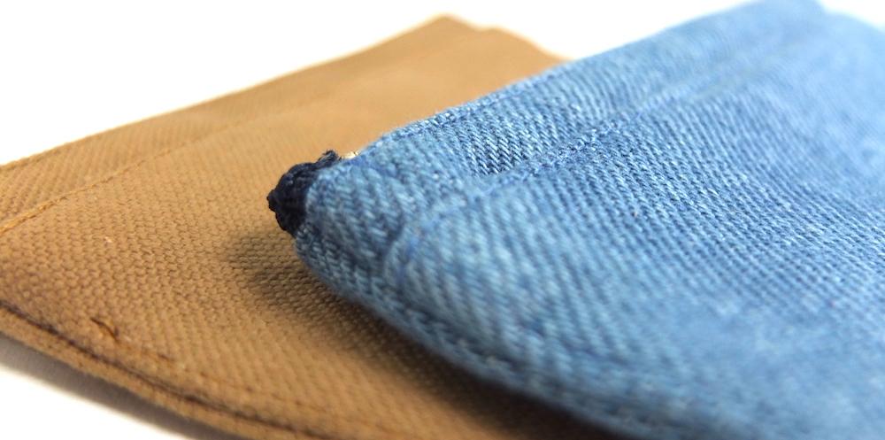 ミニ財布の素材 倉敷帆布と岡山デニム