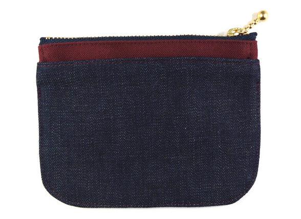 デニムと帆布を組み合わせたミニ財布