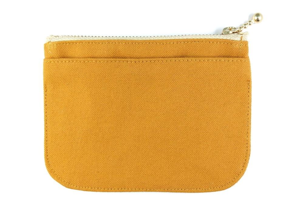 帆布のキャメル色ミニ財布